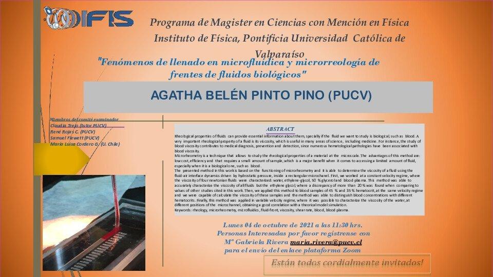 Invitación a Examen de Grado de Agatha Pinto Pino