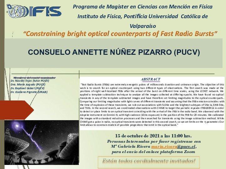 Invitación a Examen de Grado de Consuelo Núñez Pizarro